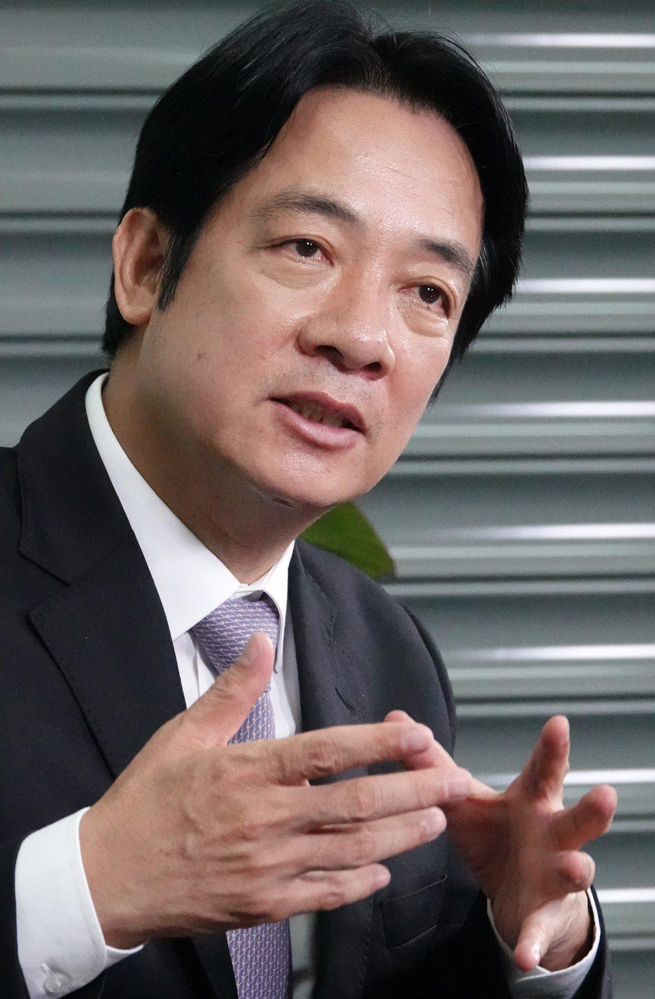 行政院前院長賴清德接受聯合報專訪。記者陳正興/攝影