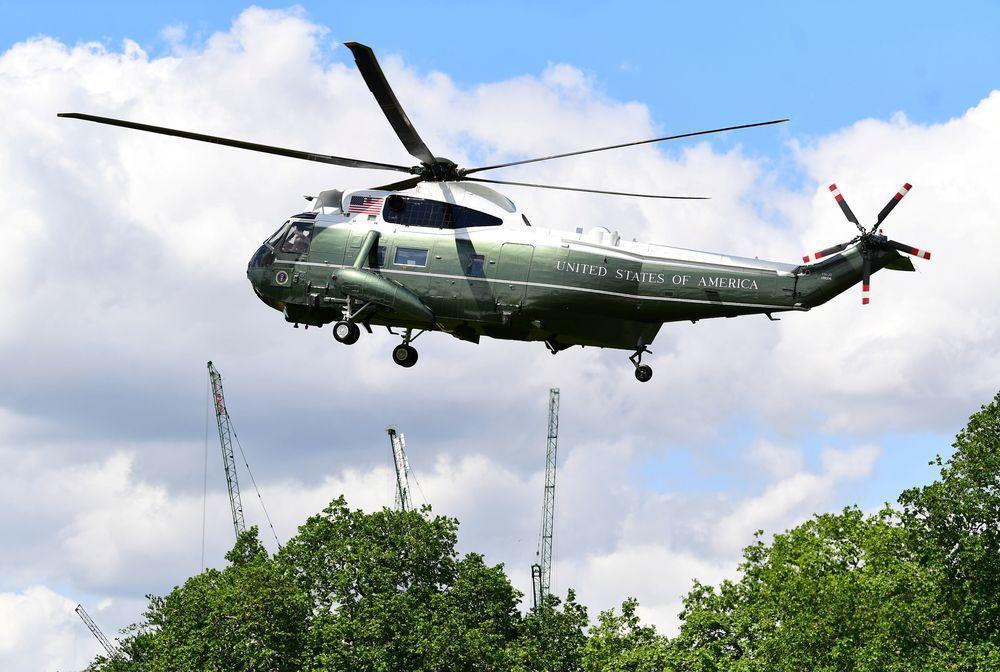 美國總統川普的專用直升機陸戰隊一號。(路透)
