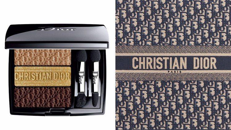 迪奧訂製三色眼影盤#553,靈感來自Dior Oblique刺繡托特包,售價2,...