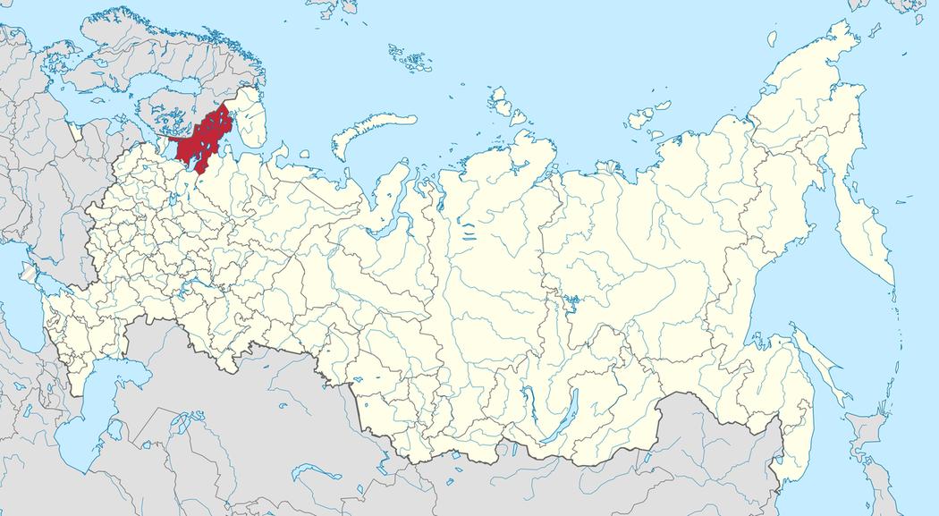 紅色部分為卡累利阿共和國