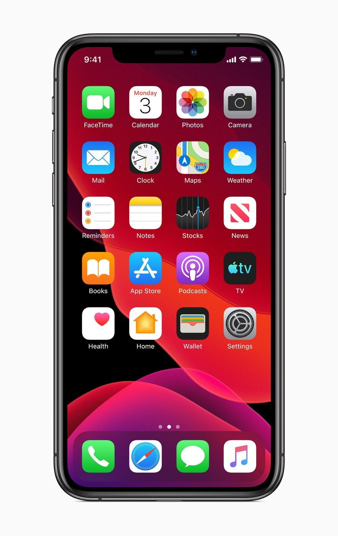蘋果最新發表的iOS 13也推出Dark Mode深色模式。圖/蘋果提供