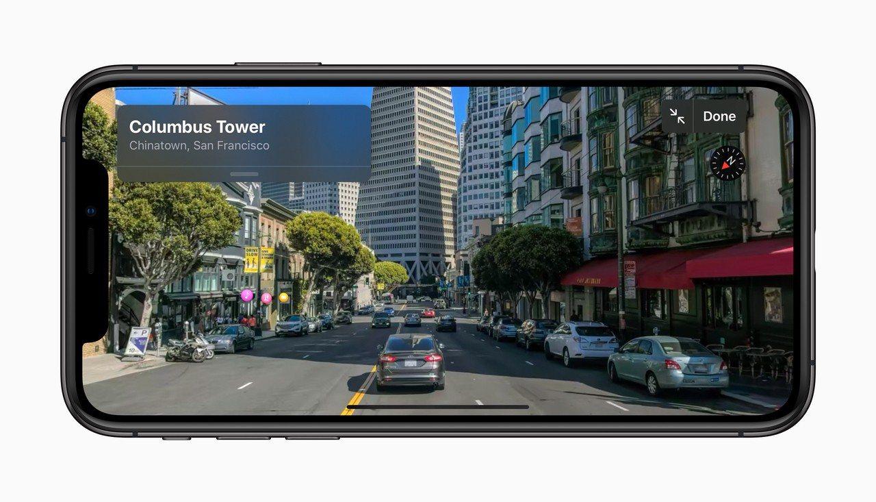 iOS 13的Apple地圖加入了街景實境導航功能。圖/蘋果提供