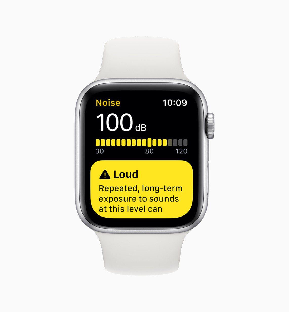 watchOS 6加入了噪音偵測功能。圖/蘋果提供