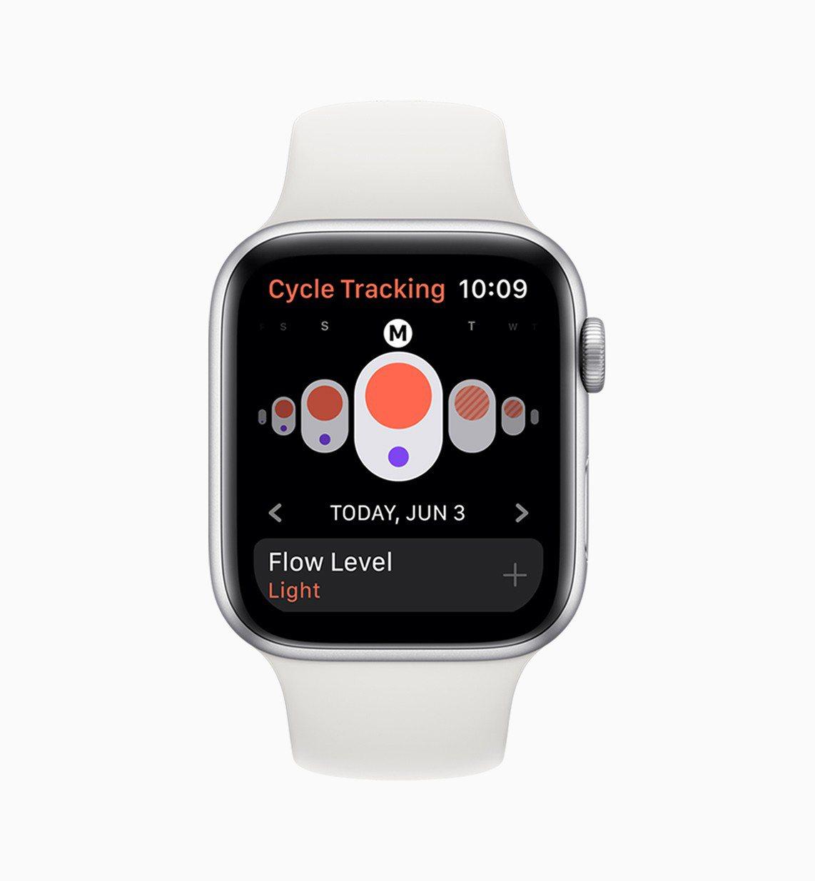女性使用者可透過watchOS 6全新的生理週期追蹤程式,隨時使用Apple W...