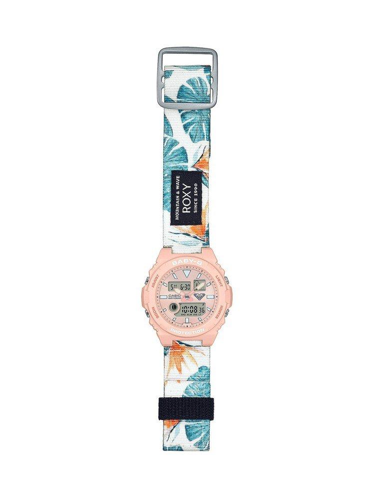 Baby-G BAX-100RX-4A表款,提供了Roxy常用的花卉圖騰帆布表帶...