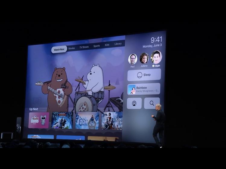 從tvOS 13螢幕右側的控制中心,即可快速切換不同帳號使用。圖/摘自蘋果官網