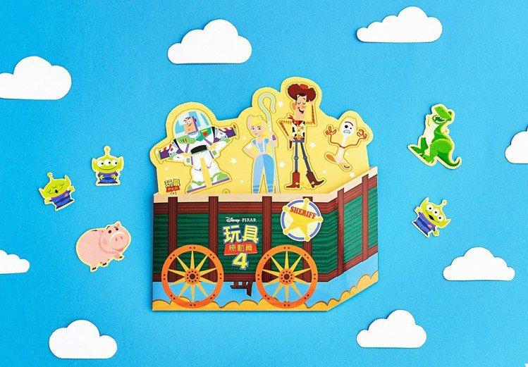 玩具箱造型貼紙有多個角色。圖/威秀提供