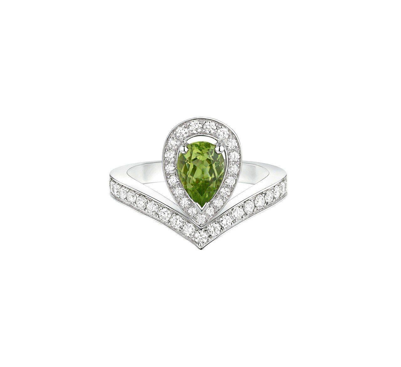 Chaumet Joséphine Aigrette 18K白金橄欖石戒指,2...