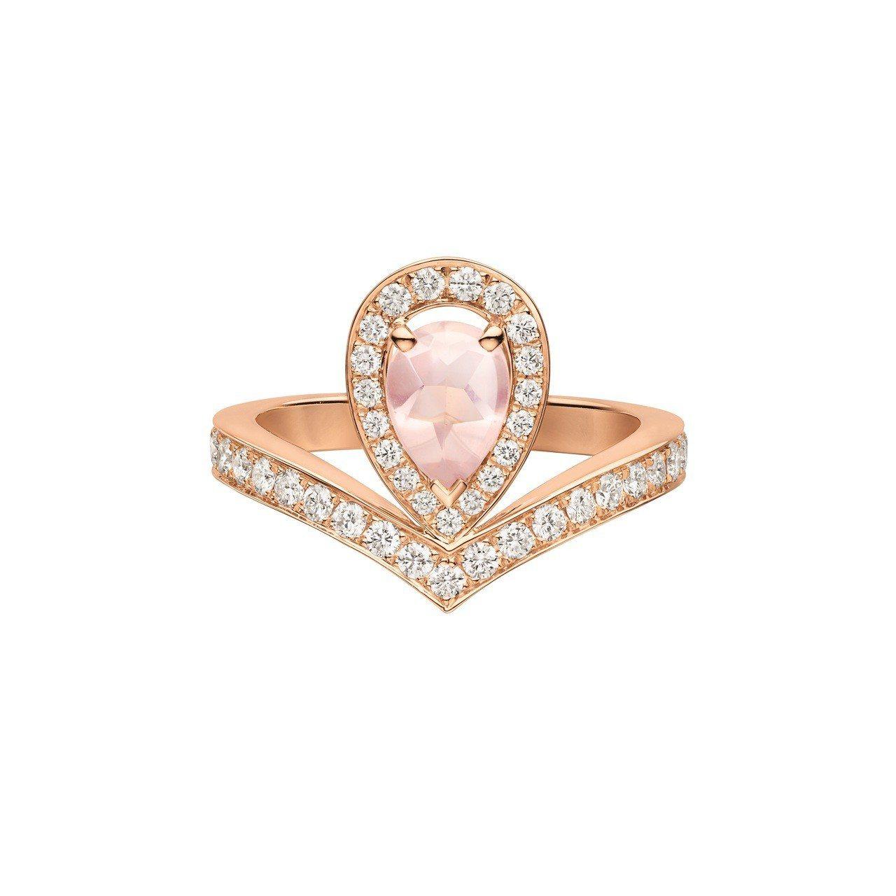Chaumet Joséphine Aigrette 18K玫瑰金粉紅石英戒指...