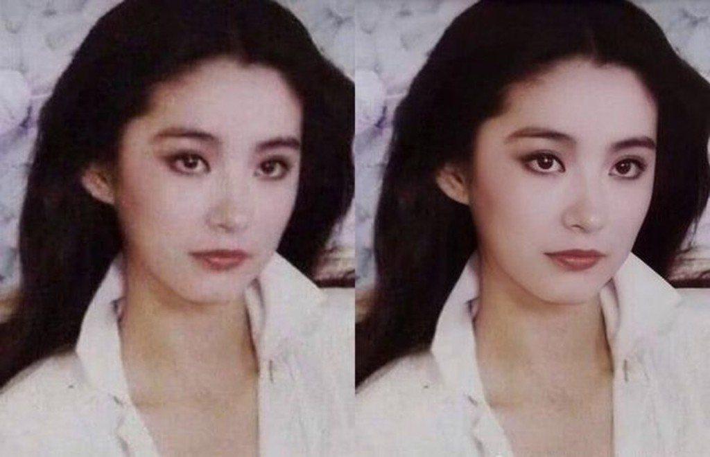 網友將林青霞一批舊照重現色彩,復修後林青霞麗質天成,堪稱絶色。 圖/摘自微博