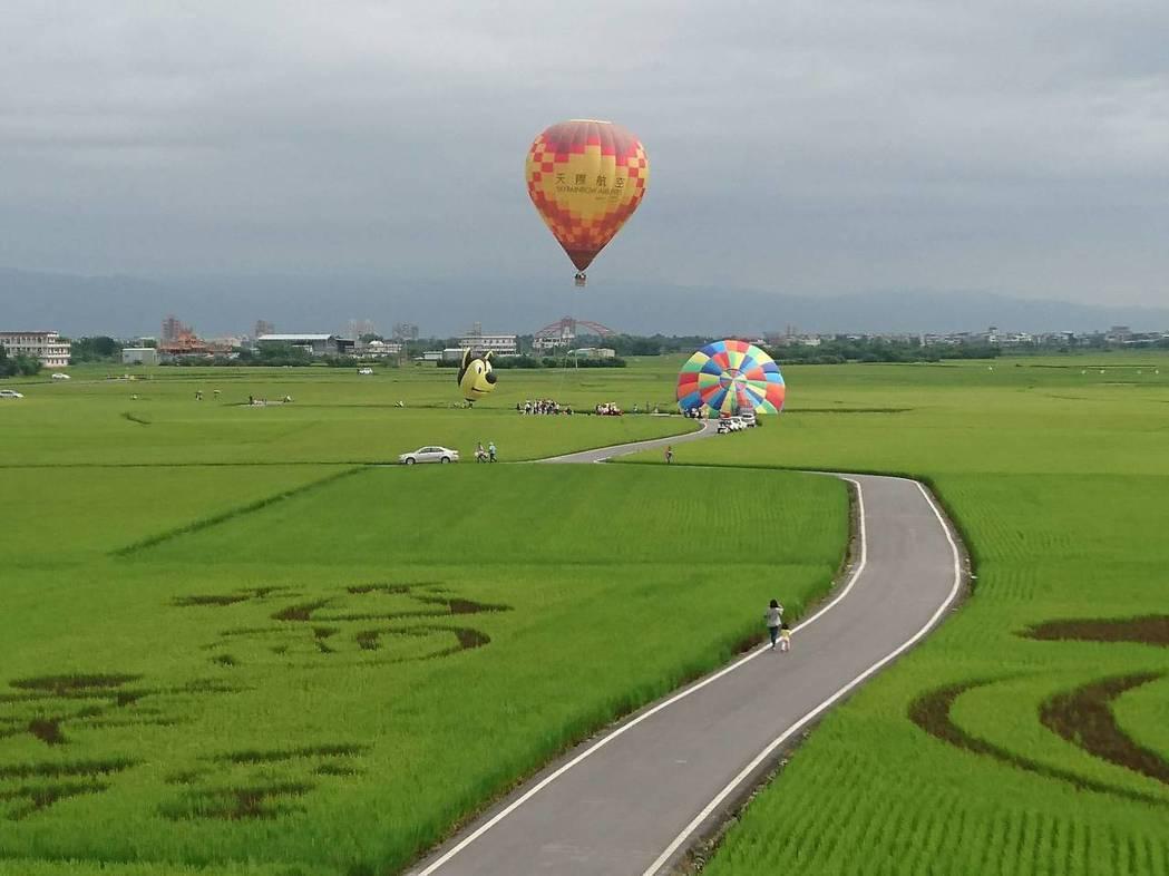 被譽為「宜蘭伯朗大道」的冬山鄉三奇稻間美徑,開辦熱氣球嘉年華。 記者羅建旺/攝影
