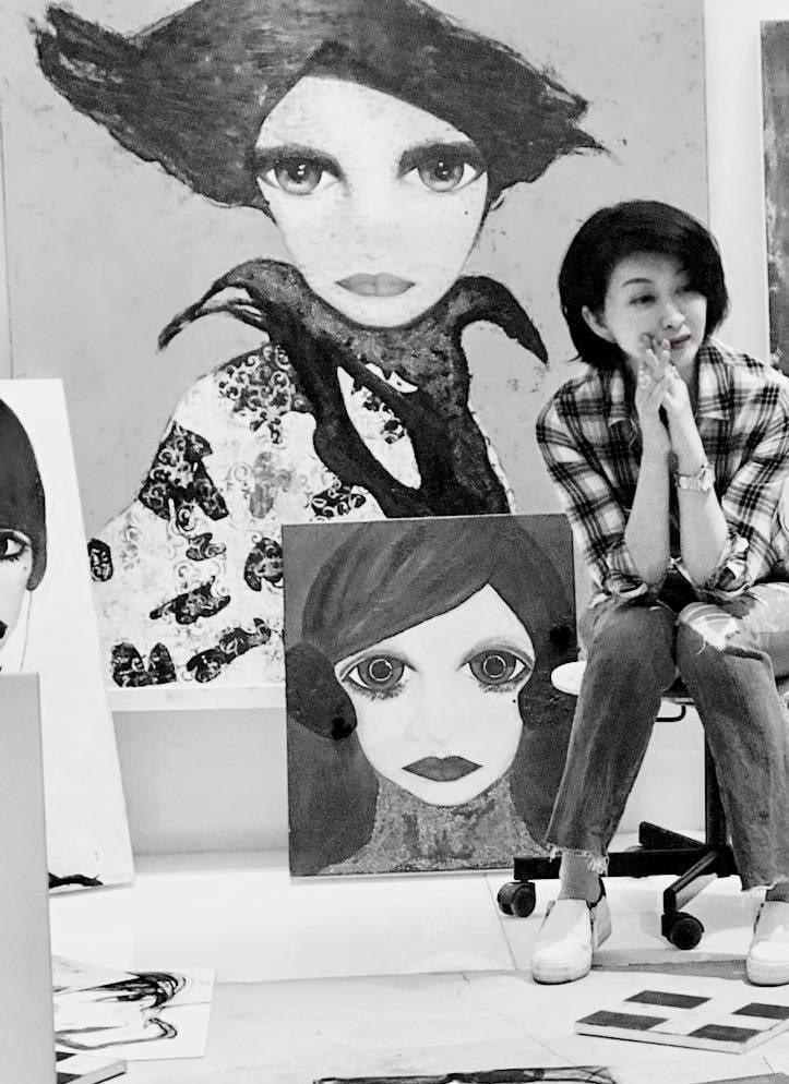 80年代玉女偶像楊林開畫展。圖/楊林提供
