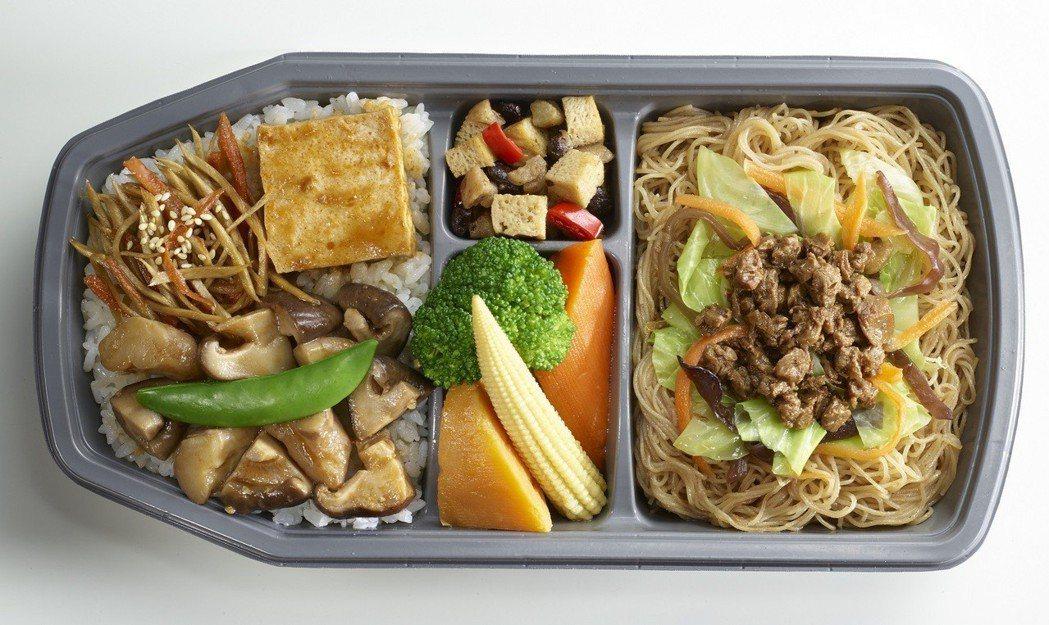 高鐵紅燒彩菱鮮蔬(素食)便當。2016年1月推出,現已停賣。 圖/台灣高鐵公司提...