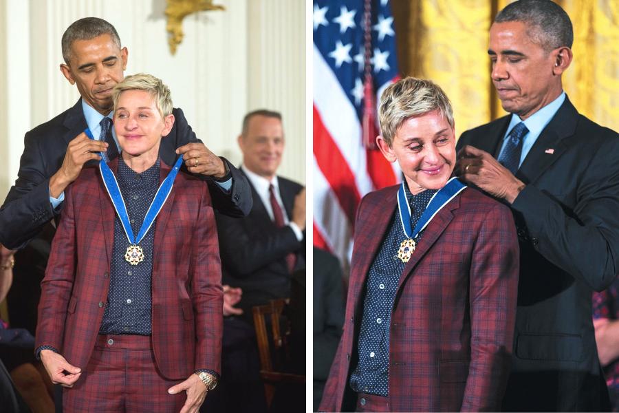 2017年歐巴馬總統特別頒發總統自由勳章給艾倫,表彰她對人權的貢獻。(圖/聯合報...