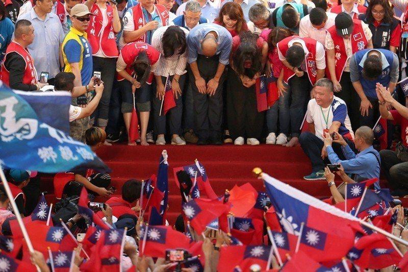 6月1日,支持韓國瑜競選總統支持者在凱道上聚會。 圖/聯合報系資料照