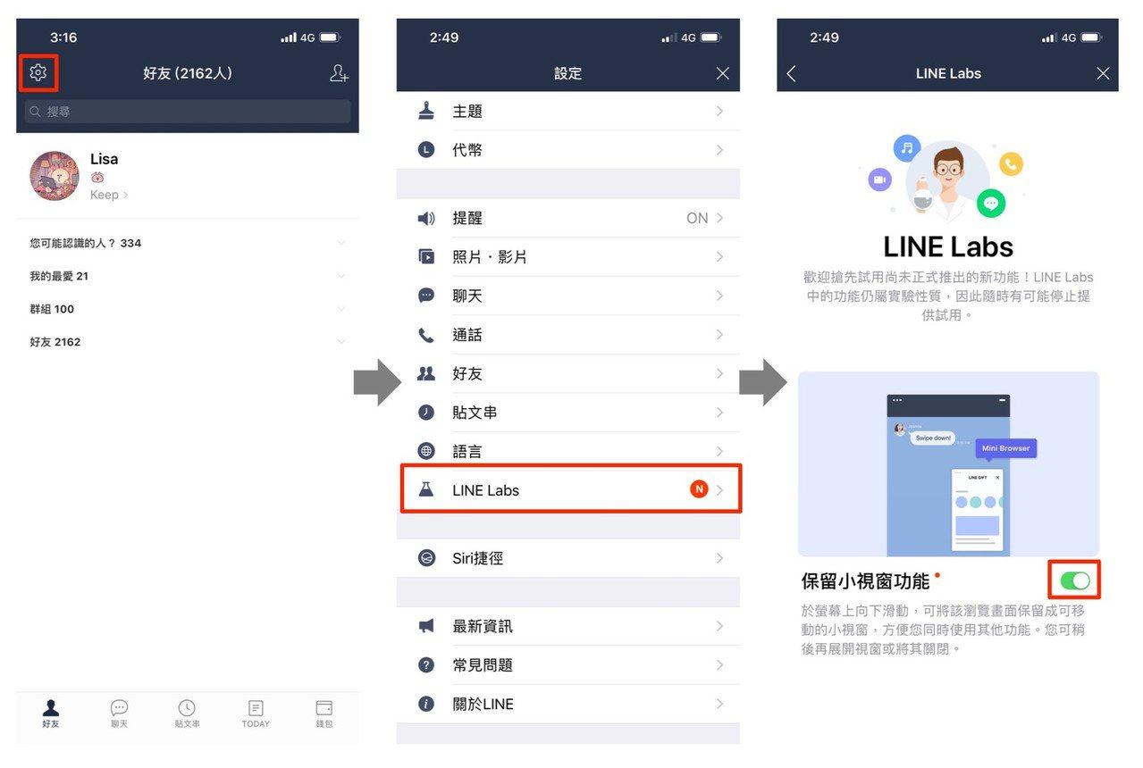 保留小視窗功能需從「LINE Labs」中手動啟用。圖/LINE台灣官方部落格