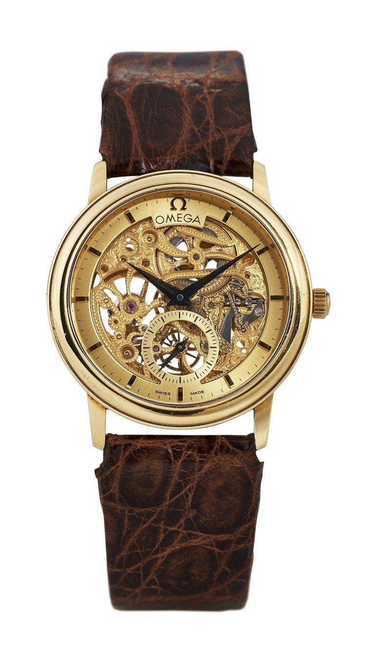 歐米茄,「Skeleton」,限量編號 56/100,黃金限定款鏤空手動上鍊腕表...