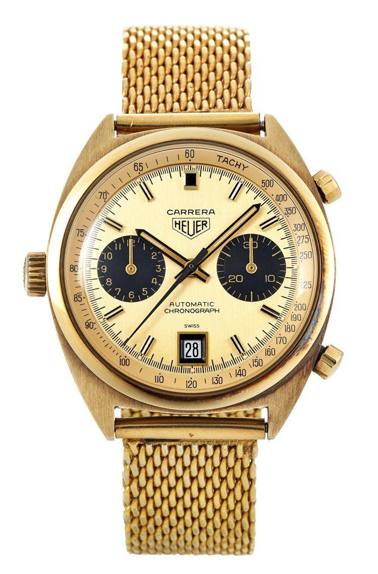 豪雅Carrera黃金計時自動鍊帶腕表,配日期顯示,約 1970 年,估價約28...