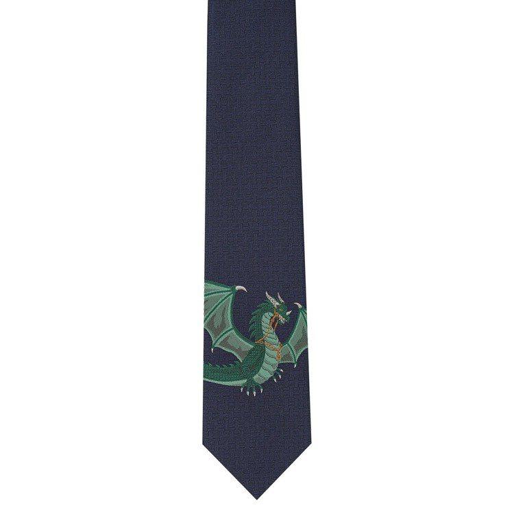 Dragon Flash圖紋印花 7公分厚真絲領帶,7,800元。圖/愛馬仕提供