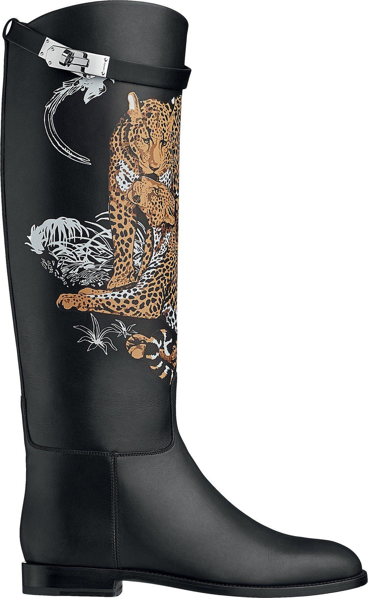Jumping系列Jungle love圖紋印花小牛皮長靴,99,300元。圖/...