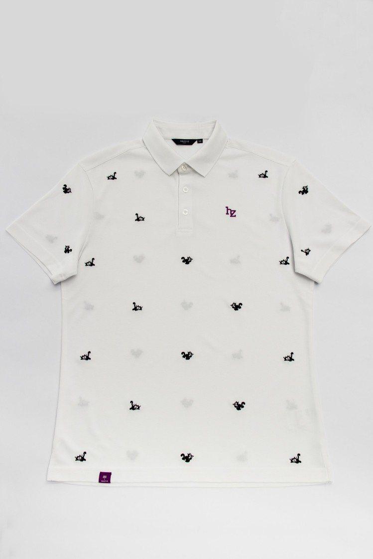 迷你菲力貓刺繡POLO衫(白色) ,5,280元。圖/HAZZYS提供