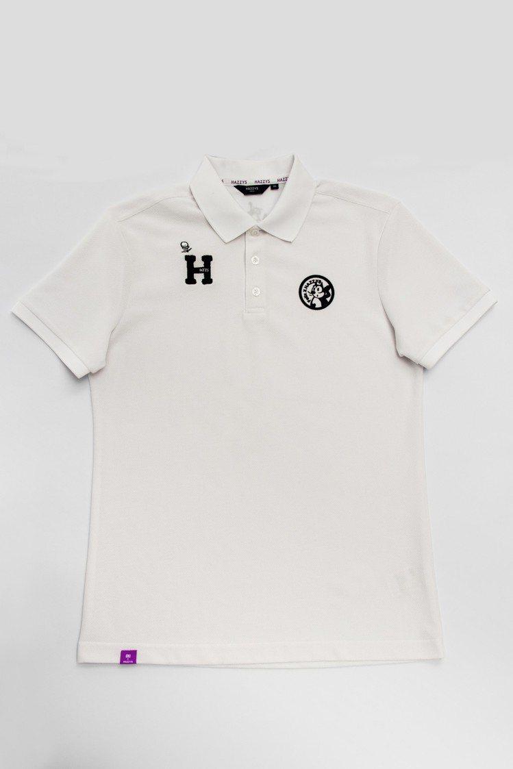 棉質混紡POLO衫(男生白色),4,280元。圖/HAZZYS提供