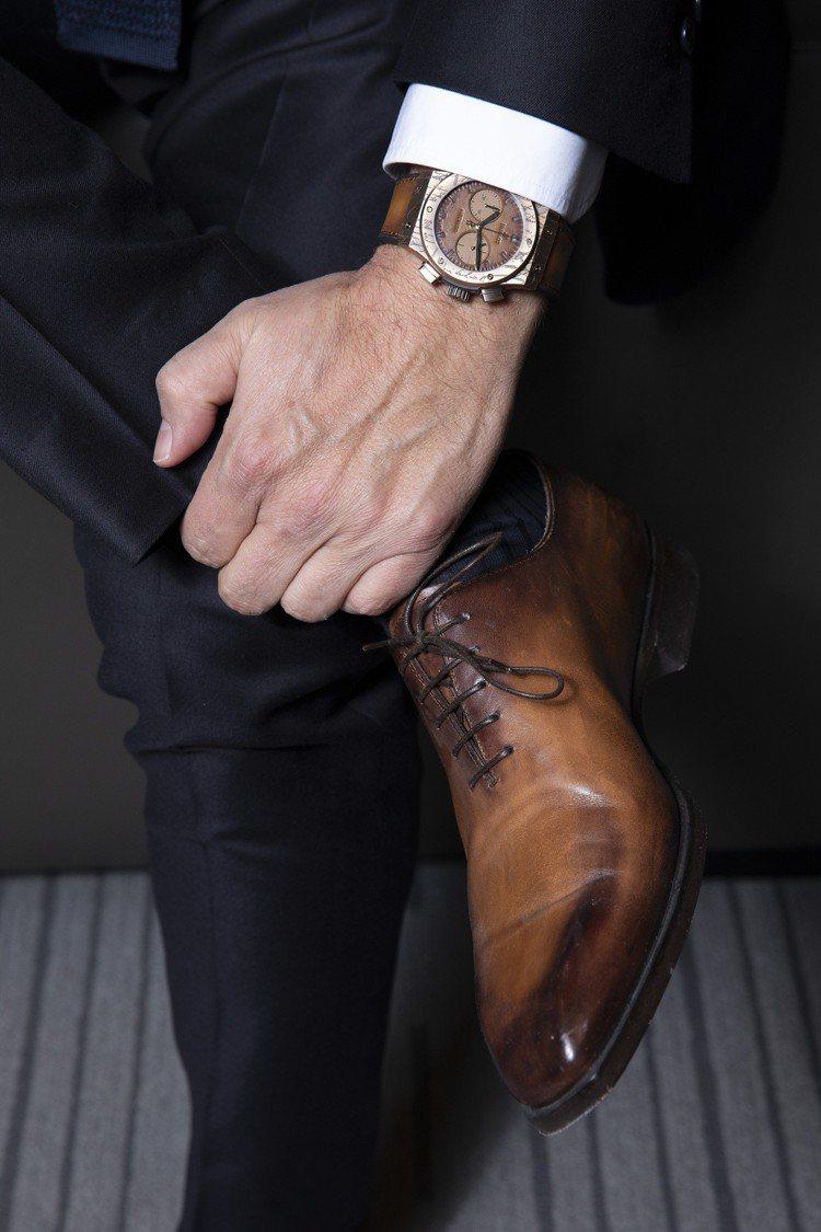 宇舶表和法國高級男裝品牌Berluti的合作,今年推出第四代的聯名表款。圖/HU...