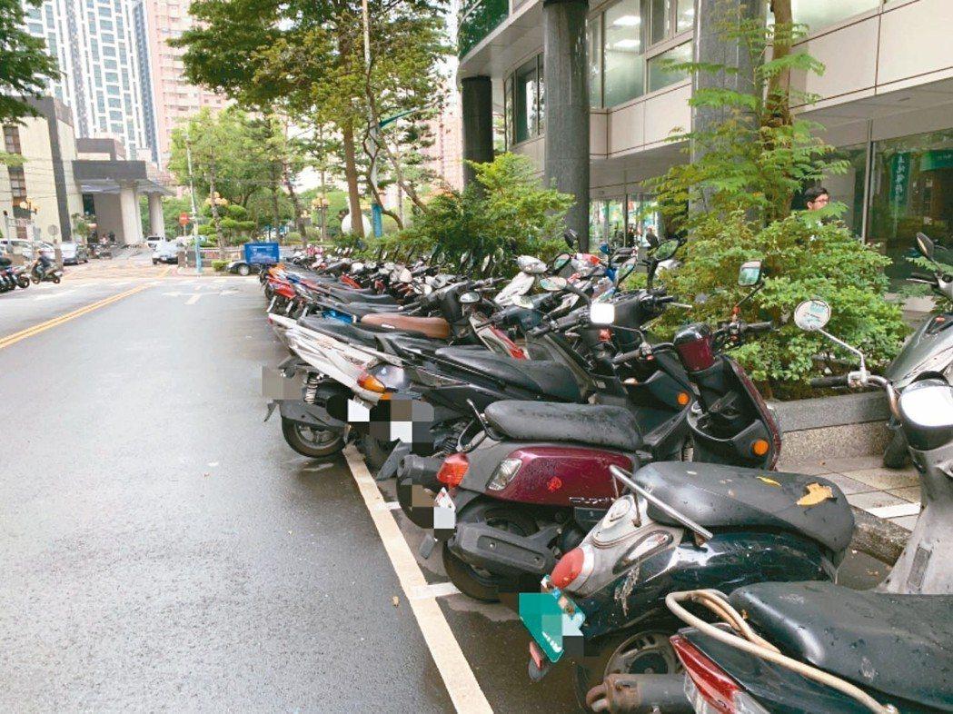 新北市議員王威元昨在總質詢指出,新北市平均8.11輛機車共用一個停車格。 記者張...