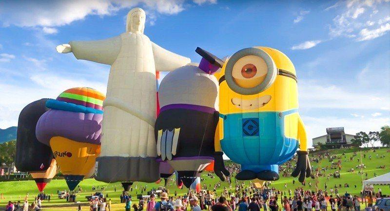 今年熱氣球嘉年華造形球數量比以往多,有藍色小精靈、海綿寶寶等40顆吸睛的造形熱氣...