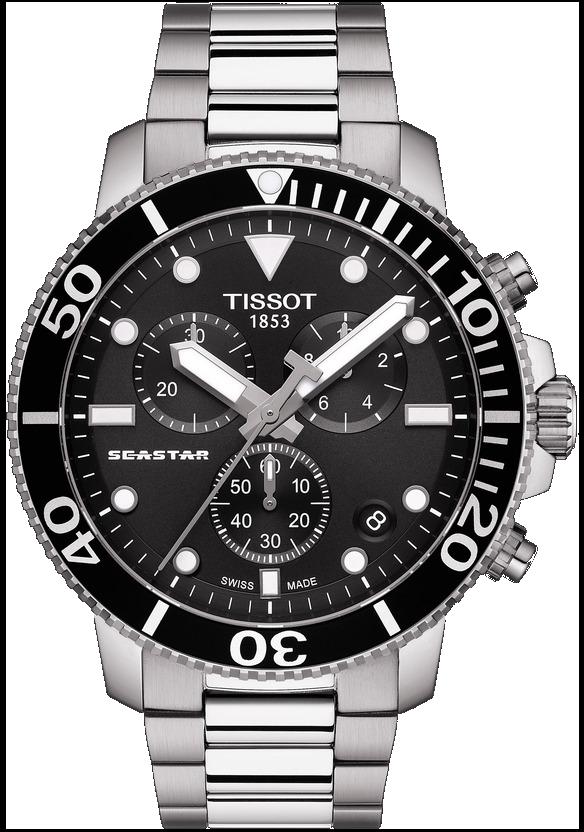 天梭Seastar 1000海星系列石英計時碼表,不鏽鋼表殼、表鍊,約17,60...
