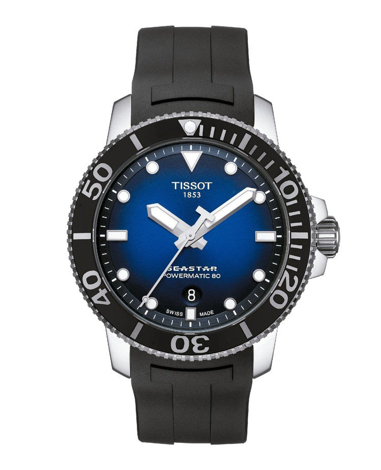 天梭Seastar 1000海星系列自動款潛水腕表,不鏽鋼表殼搭配黑色單向旋轉陶...