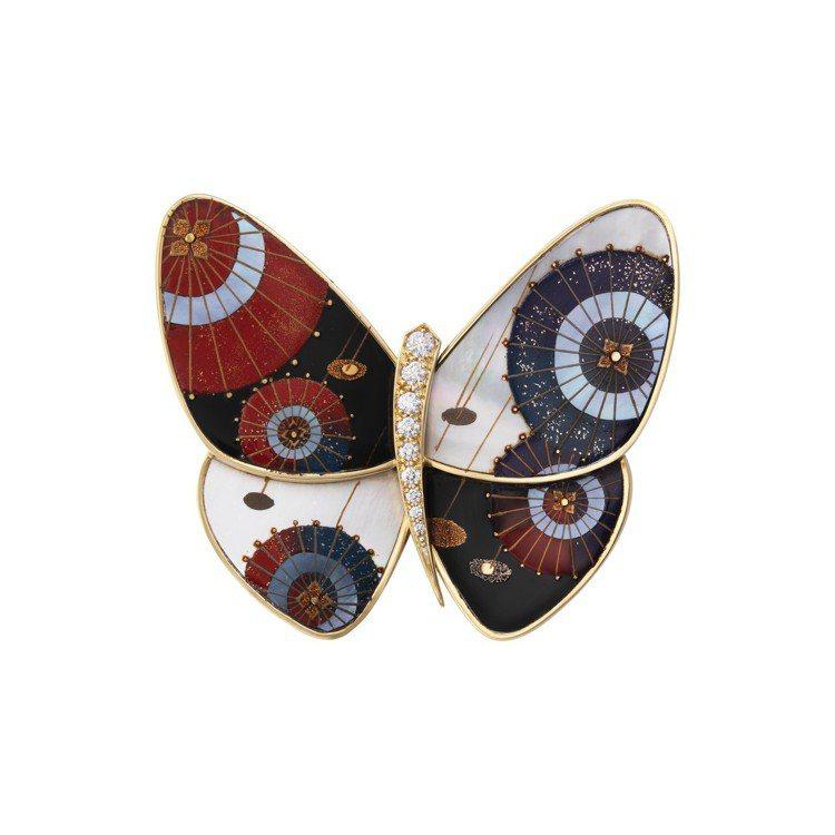 梵克雅寶Janomegasa日式和傘漆繪蝴蝶胸針,77萬5,000元。圖/梵克雅...