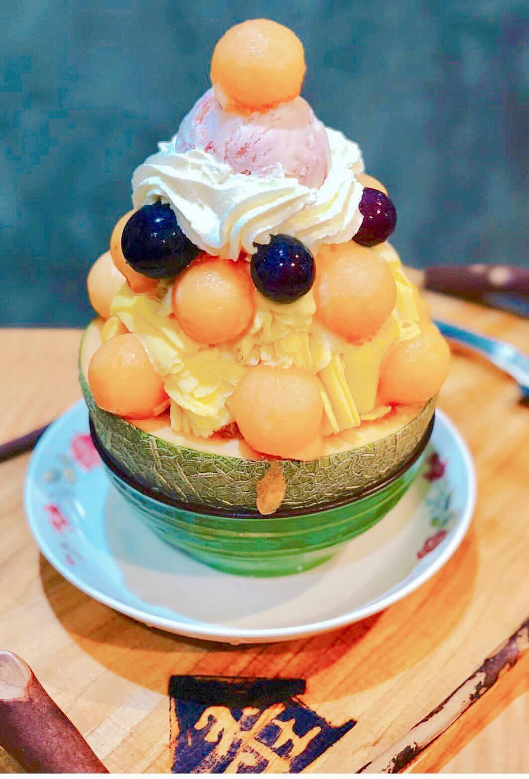 創意冰品名稱「芒果哥哈葡萄妹」。圖/尋庄懷舊冰店 提供