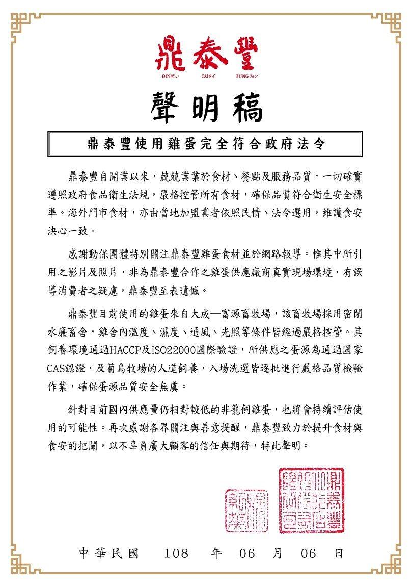 鼎泰豐於6月6日發表聲明,澄清使用雞蛋均符合法規。圖/鼎泰豐提供