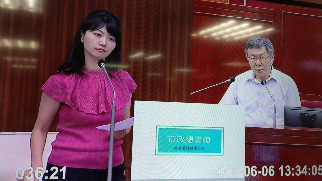 台北市長柯文哲說要把私幼轉型成非營利幼兒園,議員高嘉瑜質疑成效。記者楊正海/攝影