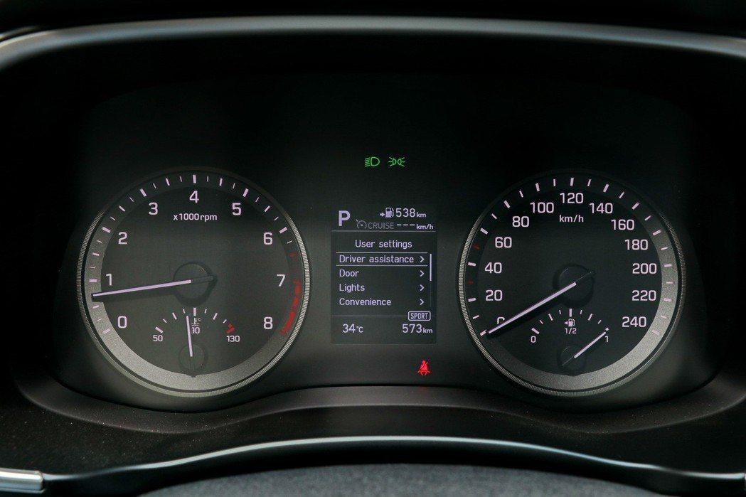 傳統的雙環式儀表搭配中央3.5吋車資顯示幕。 記者陳威任/攝影