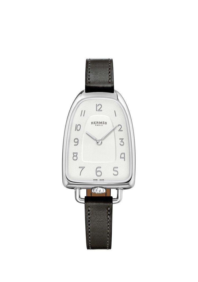 Galop d'Hermès精鋼款搭配黑色Barenia小牛皮表帶,12萬1,6...