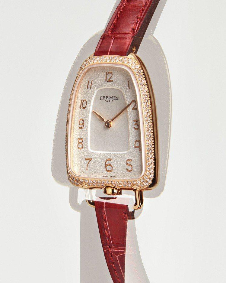 Galop d'Hermès玫瑰金鑲鑽款搭配炭火紅色短吻鱷魚皮表帶,50萬8,8...