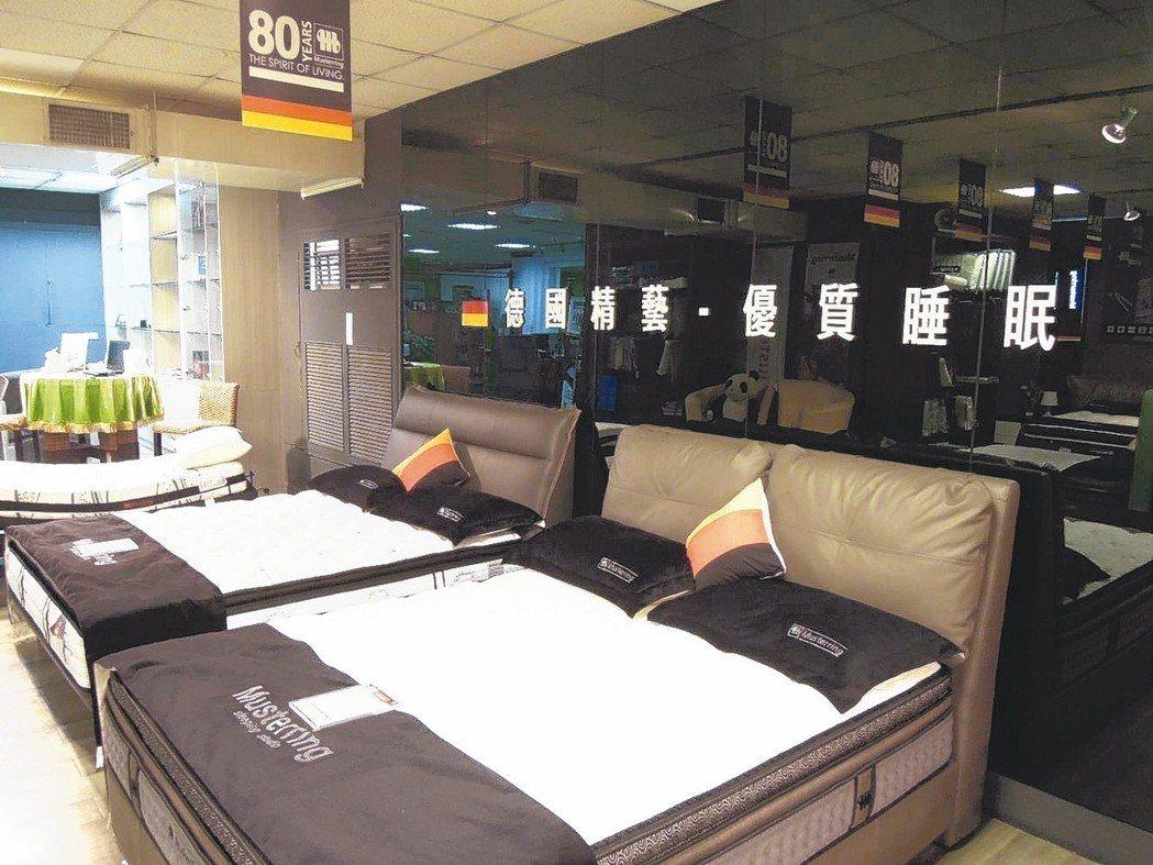 運時通集團台灣母廠位在新北產業園區。圖為床墊展示區。 記者蔡敏姿/攝影