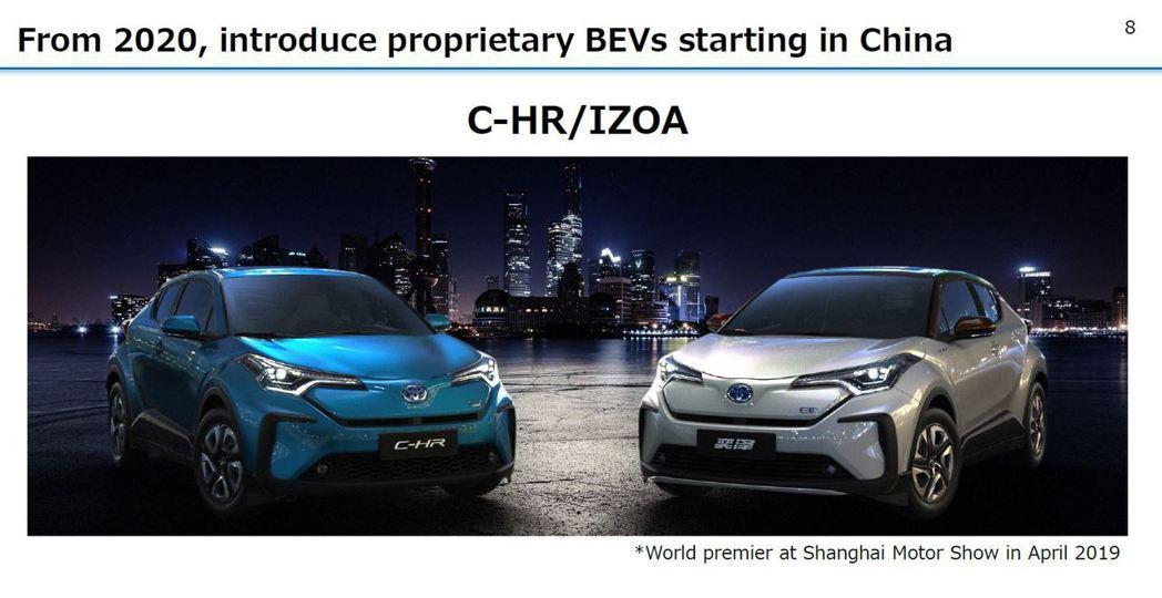 Toyota乘用車部分將由在中國販售的C-HR/IZOA率先推出純電版。 摘自T...