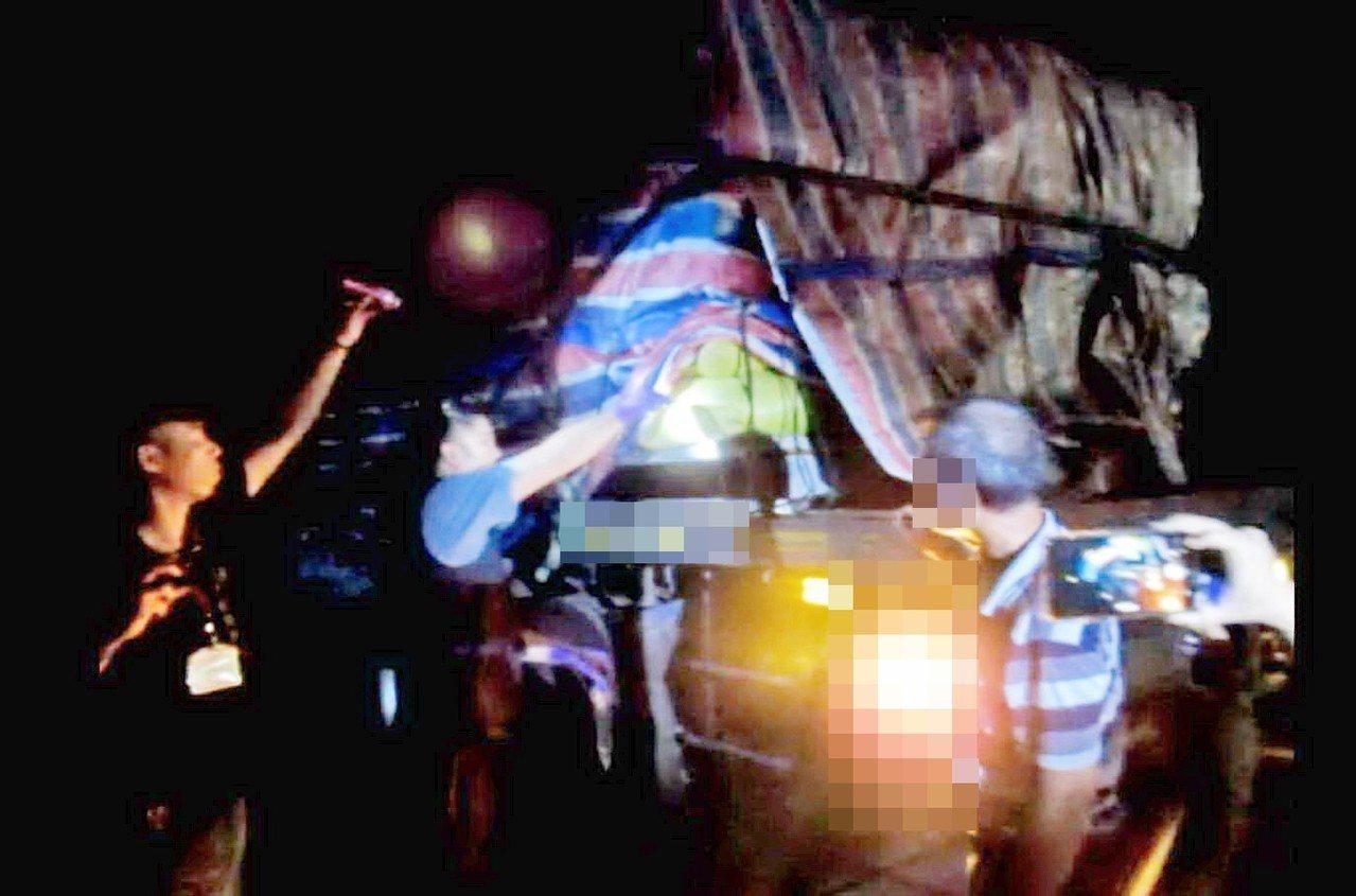 影/罰6萬!台東昨晚再查獲1大貨車滿載24噸生雞糞入境