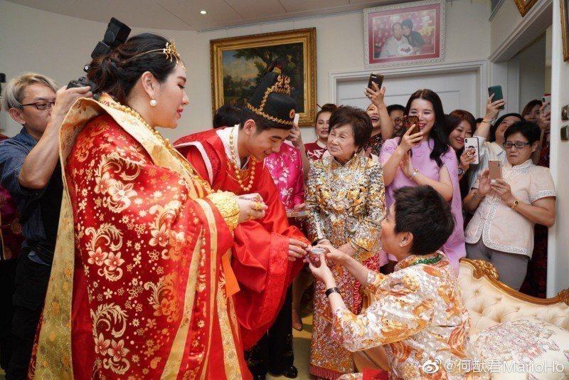 澳門賭王何鴻燊四房長女何超盈出嫁,場面相當豪奢。圖/摘自微博