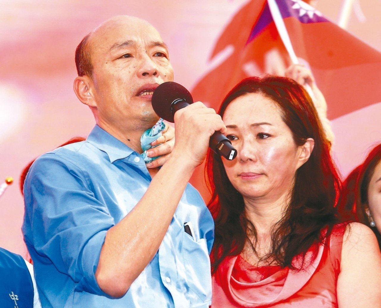 韓國瑜與妻子李佳芬成為爆料針對對象。 圖/聯合報系資料照片