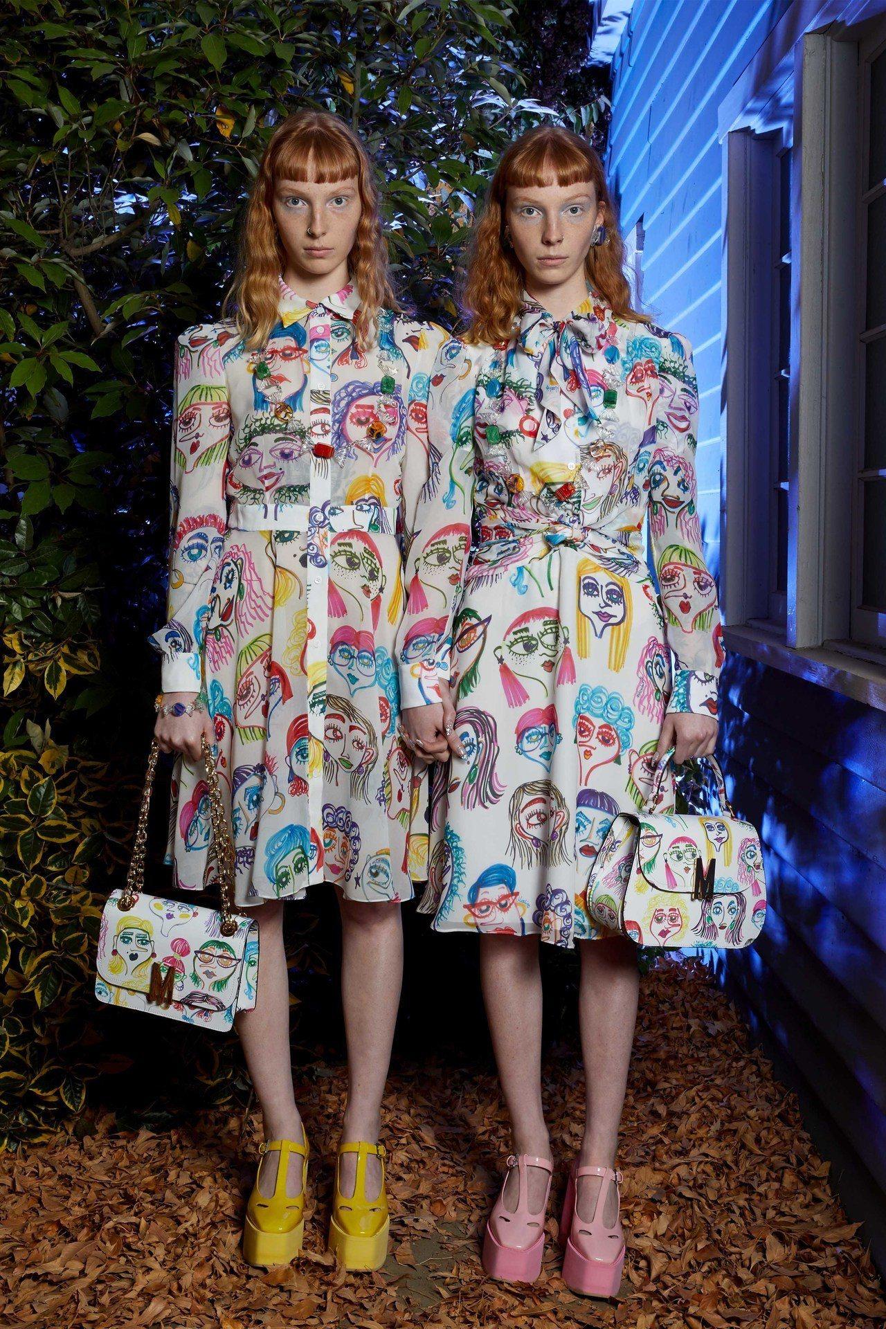 致敬《鬼店》雙胞胎女鬼。圖/Moschino提供