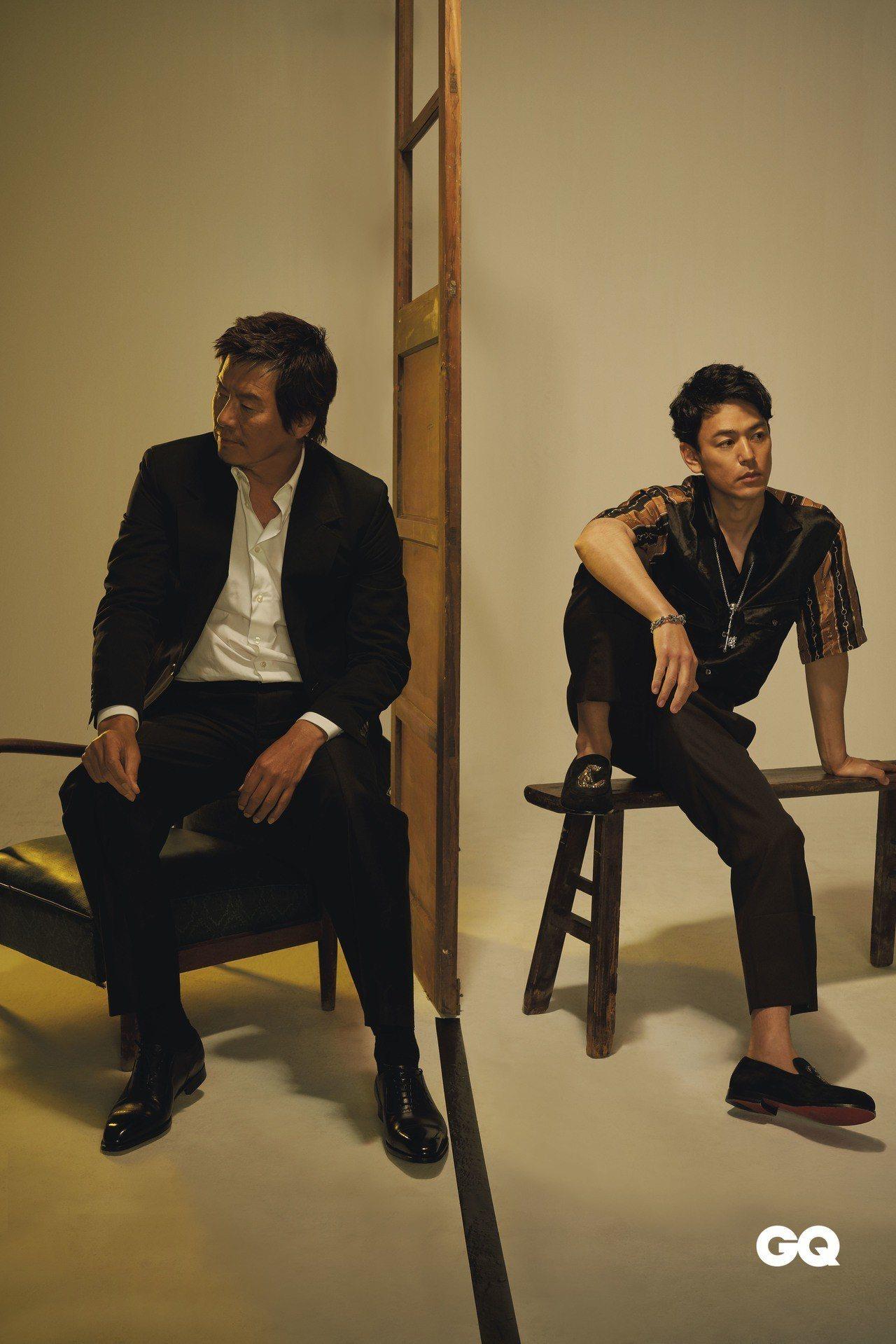 豐川悅司著3.1 Phillip Lim單排釦西上裝。 Hvrminn白色襯衫。...