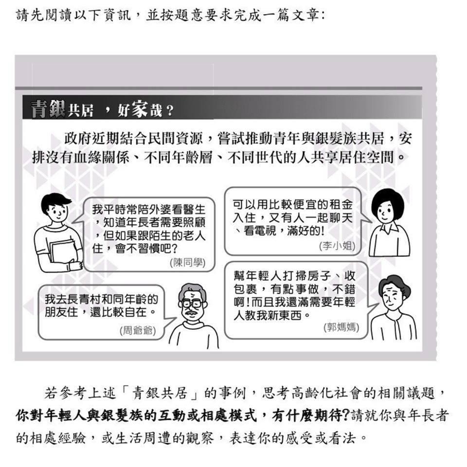108年國中教育會考「寫作測驗」要求考生根據四種「青銀共居」事例,思考高齡化社會...