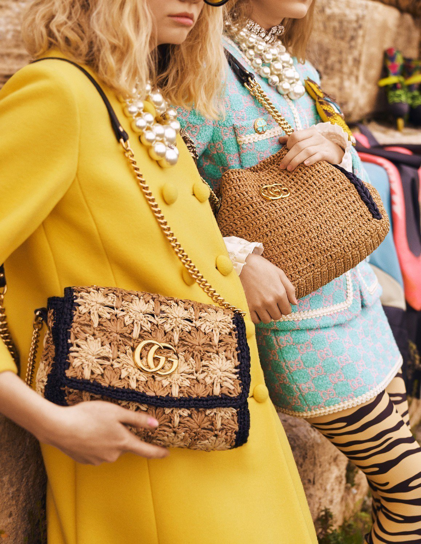 Gucci利用柳條、酒椰纖維為Sylvie、GG Marmont等系列換上新材質...