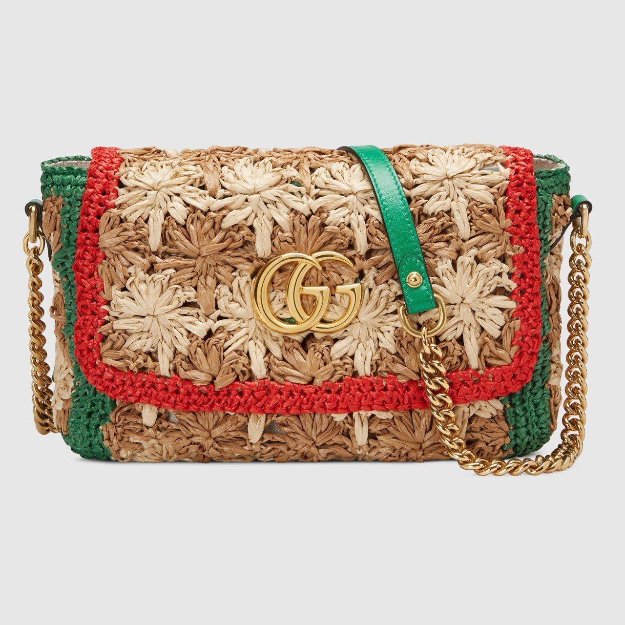 Gucci GG Marmont勾織花卉翻蓋包,67,200元。圖/Gucci提...
