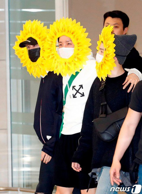 防彈少年團今天結束歐美巡演行程返回韓國,他們一入境就受到大批粉絲和媒體歡迎,但成員Jin、Suga、J-hope搶先現身,三人頭上戴著向日葵花瓣,疑似玩遊戲輸了所以變裝亮相。防彈少年團每次出入境都會...