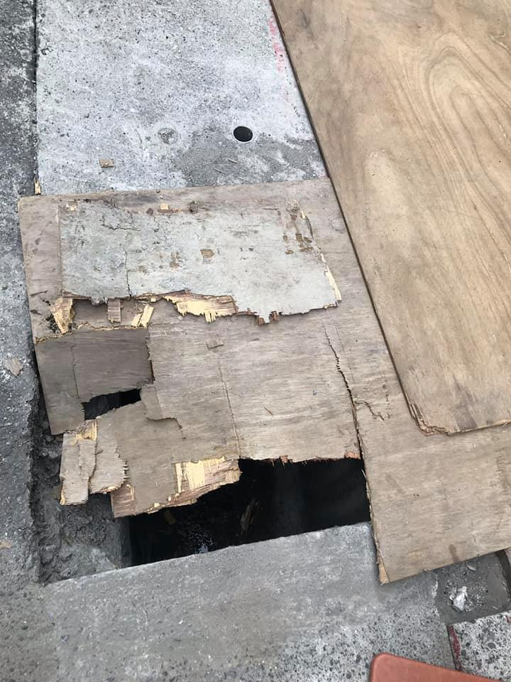 內湖人行道挖洞只鋪薄板 變成陷阱害人踩空